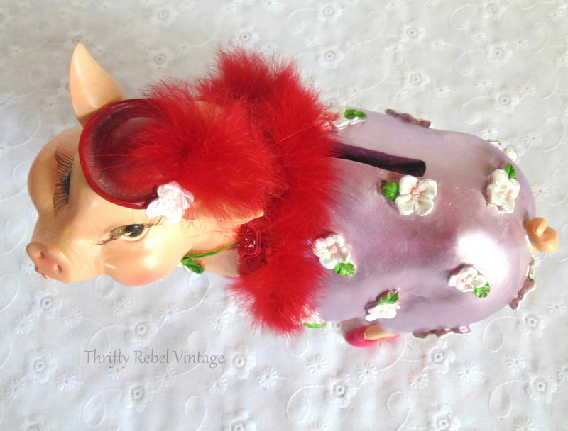 Fabulous Friday Find girly pig piggy bank with pink shoes and feather boa and red hat