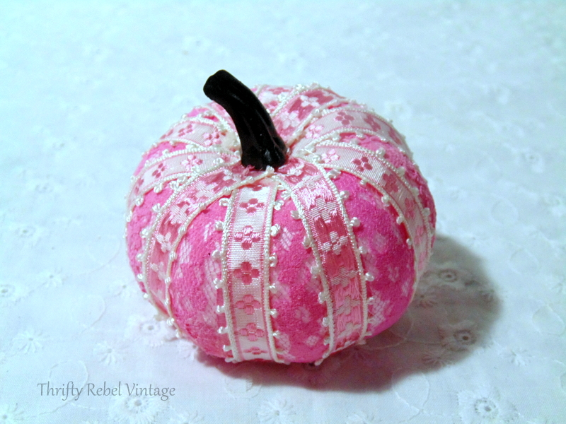 Finished pink ribbon and lace pumpkin