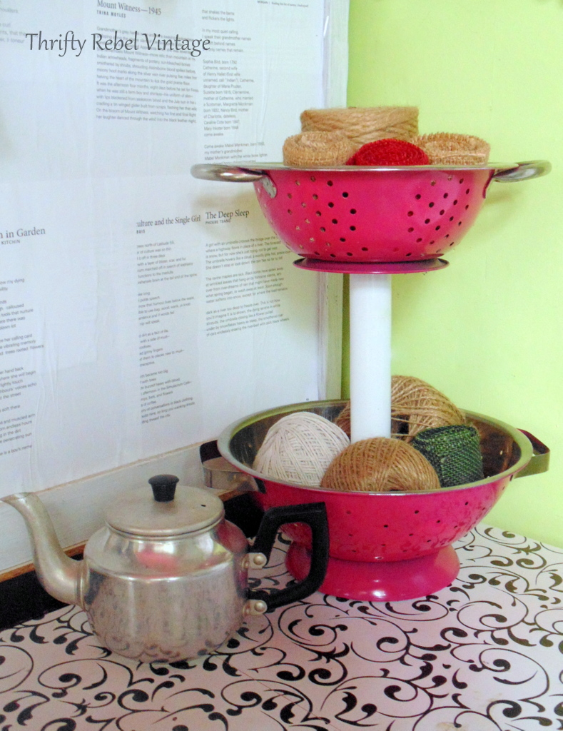 pink spray painted metal strainer diy tiered stand for craft room storage