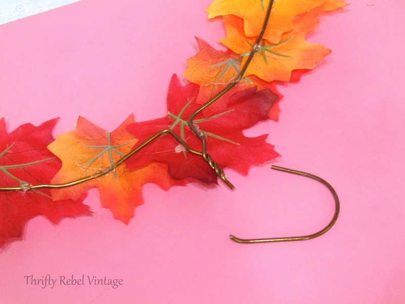 removing top of hanger for quick and easy fall wreath