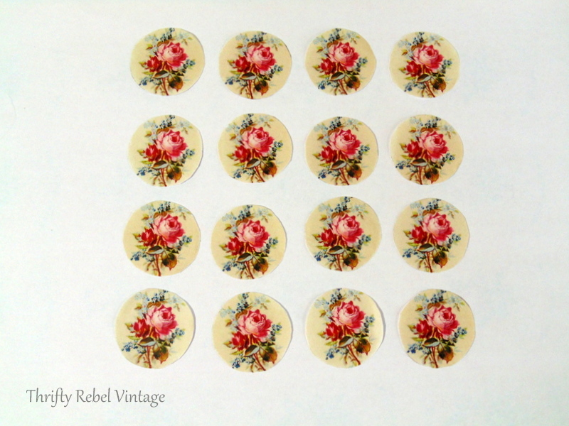 rose paper cut outs for decoupaged knobs