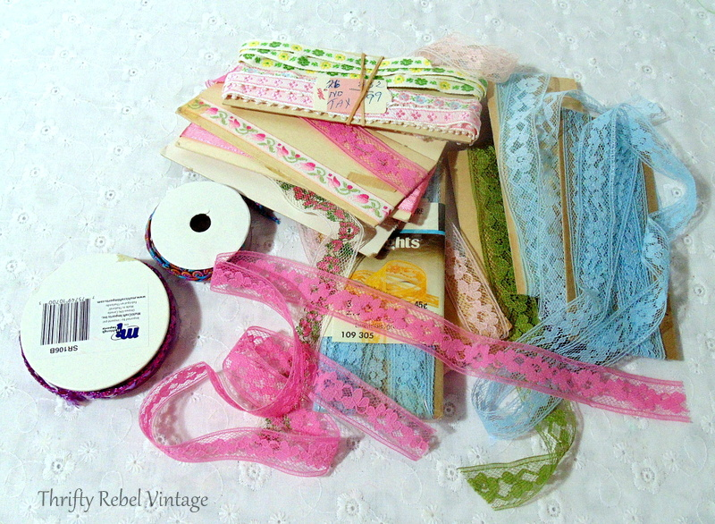 supplies for ribbons and lace pumpkins