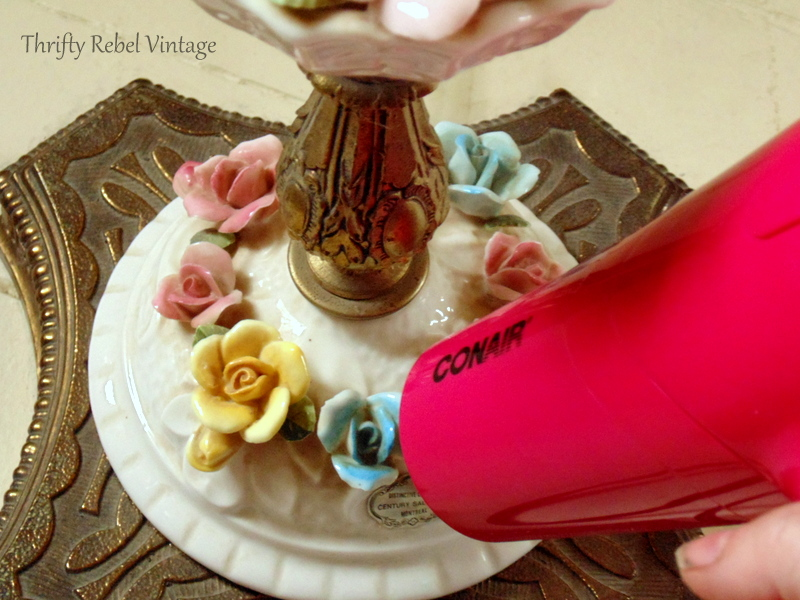 using blow dryer to clean vintage bone china roses lamp
