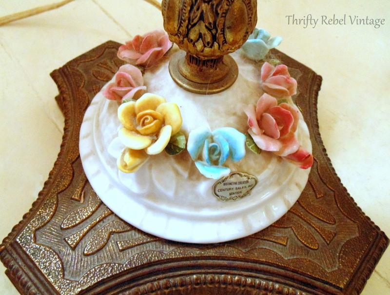 vintage bone china roses lamp base befroe cleaning