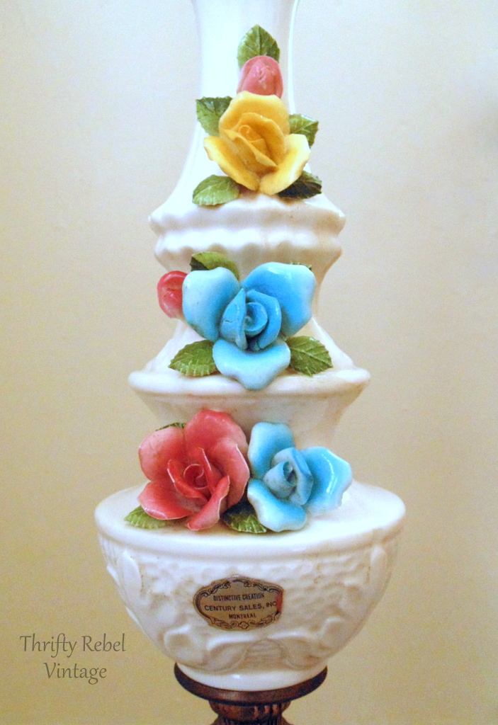 vintage bone china roses lamp middle section
