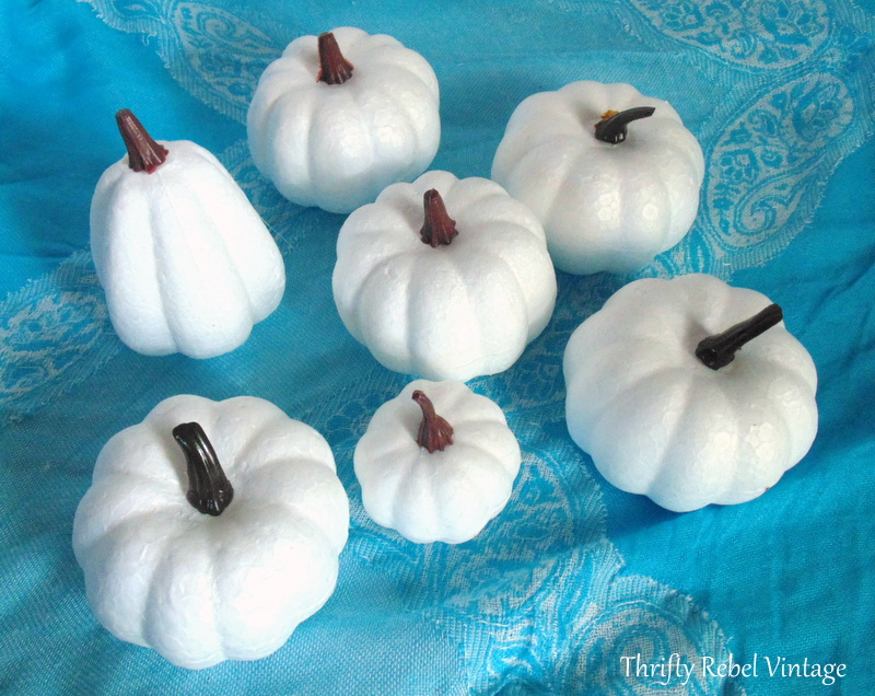white styrofoam dollar store pumpkins for lace and ribbons pumpkins makeover