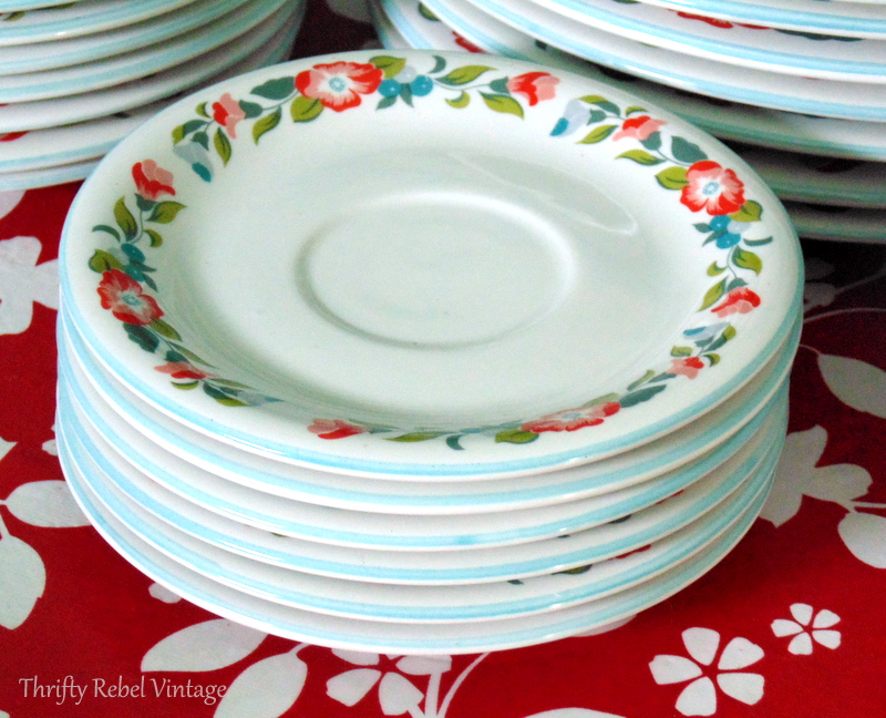 Crown Dynasty Dinnerware close up of floral design on saucers new
