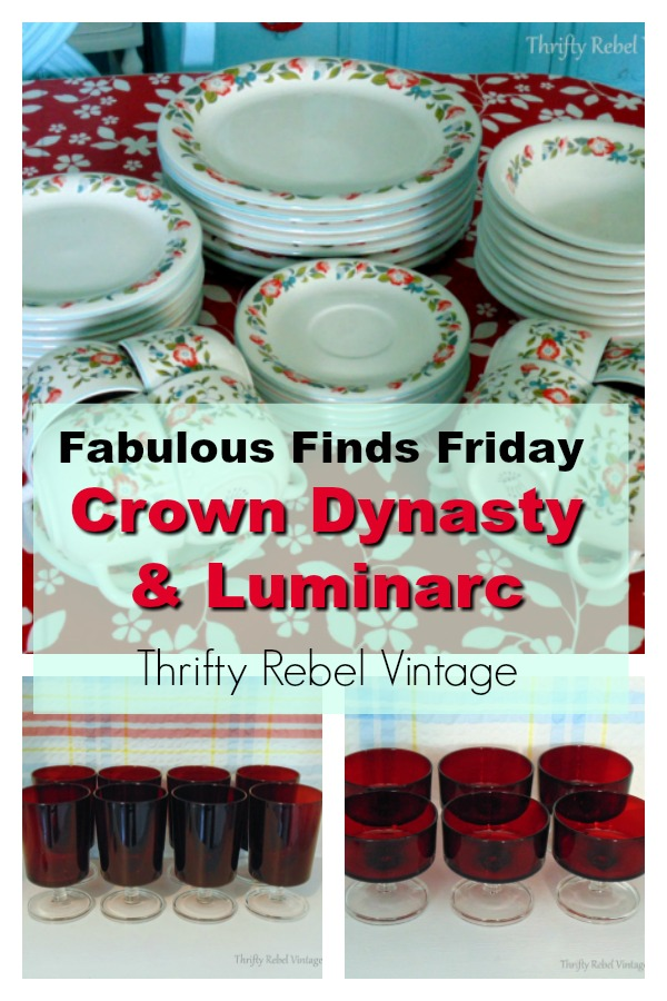 Fabulous Finds Friday Crown Dynasty Dishes & Luminarc Red Glassware. #CrownDynastyDinnerware #CrownDynasty #Luminarc #redglassware #Frenchglassware #Luminarcglassware