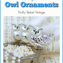 Mercury glass owl ornaments with white feather tails and blue rhinestone eyes
