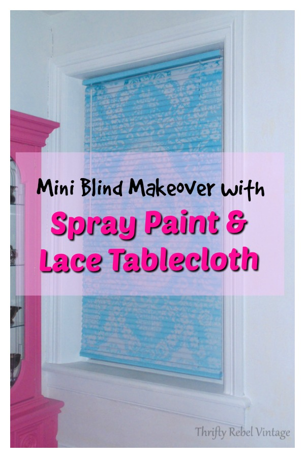 Mini blind makeover with spray paint and lace tablecloth