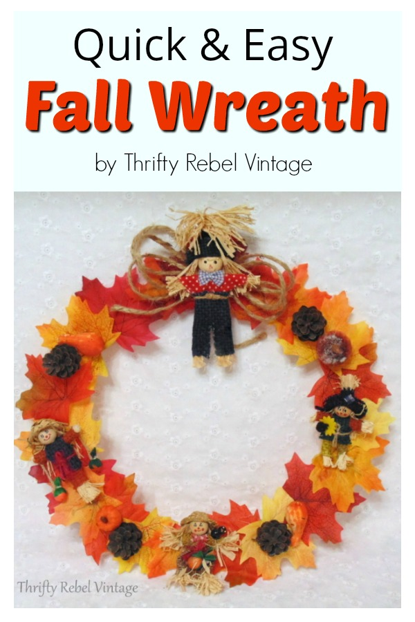 Quick & easy fall wreath using repurposed hanger and faux fall leaves
