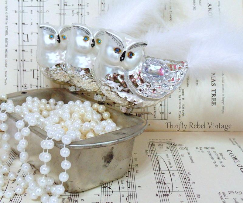 Set of three mercury glass owl ornaments