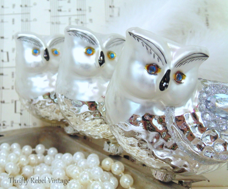 Three mercury glass silver and rhinestone owl ornaments