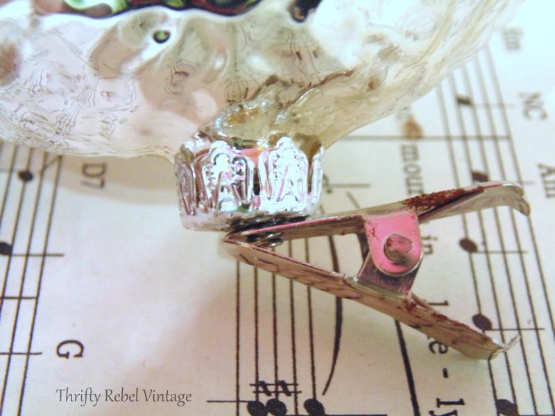 cap and clip of mercury glass owl ornaments