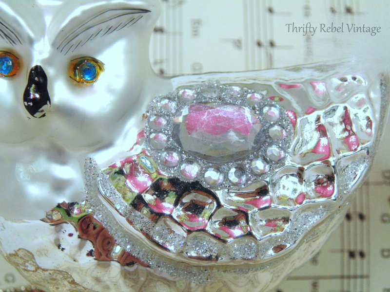 glitter details of mercury glass owl Christmas ornaments