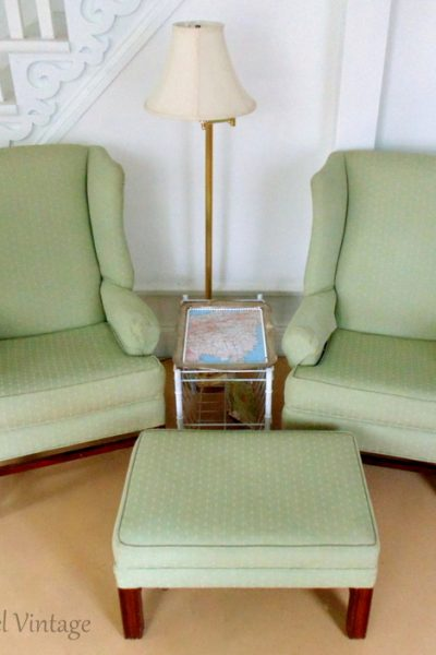 green wing chairs and ottomon set fpr the living room