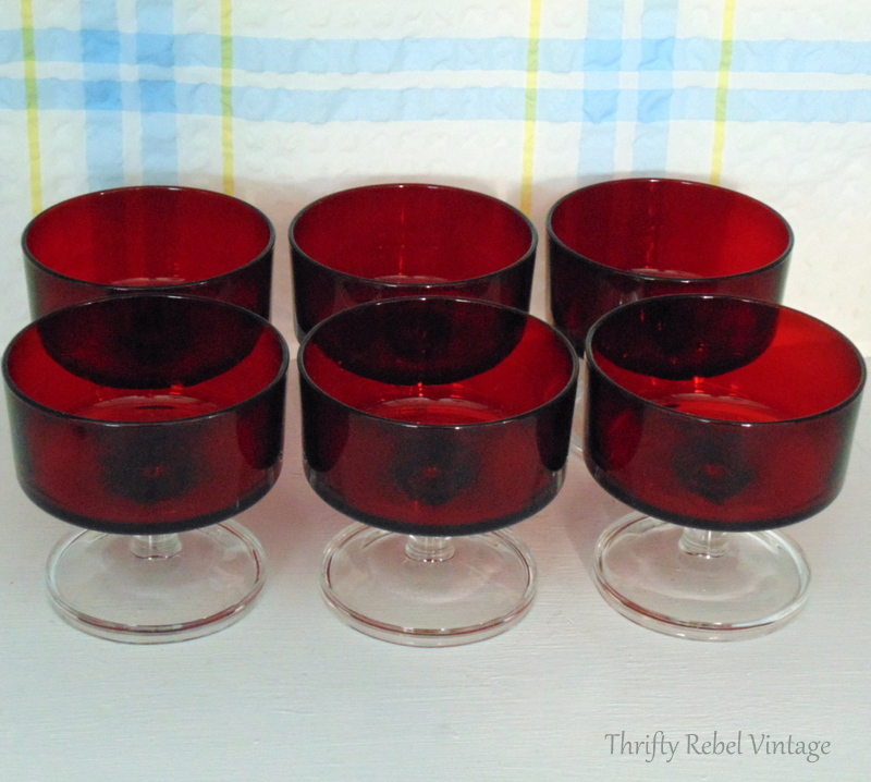 Set of 6 ruby red Luminarc desert bowls made in France