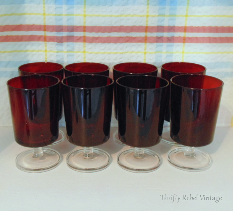 Set of 8 ruby red Luminarc glasses made in France