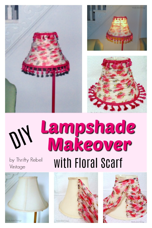 DIY Lampshade Makeover with Floral Scarf and Tassel Trim