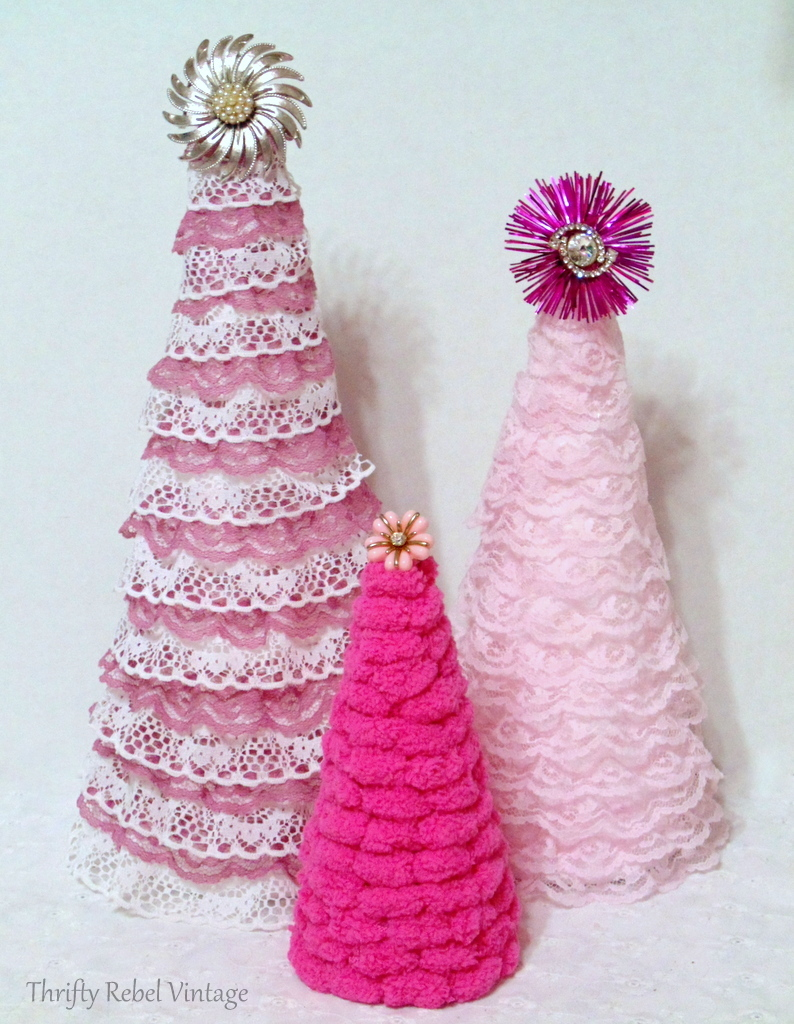 DIY puff ball yarn and ribbon lace trees with vintage tree toppers