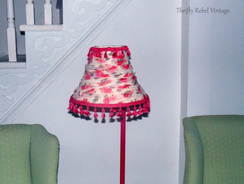 Finished floral lampshade makeover using floral scarf and tassel trim