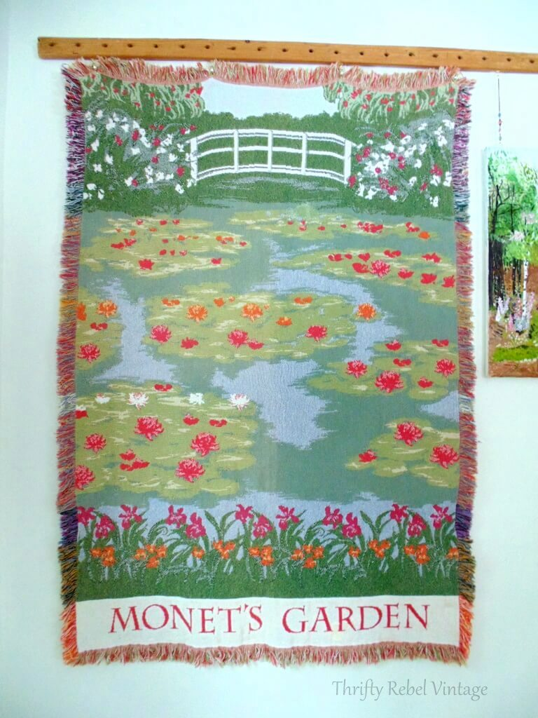 Monet water lily garden thrown wall hanging