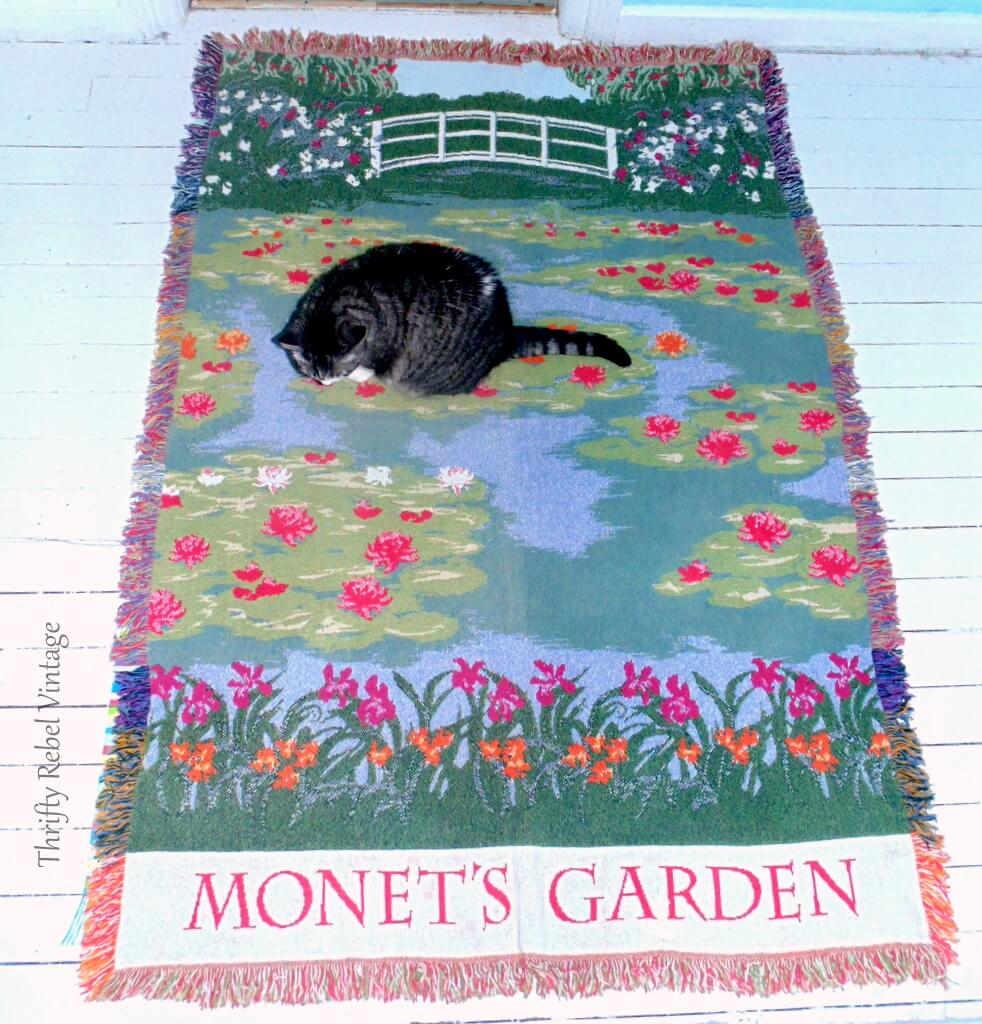 Monet's water lily garden throw