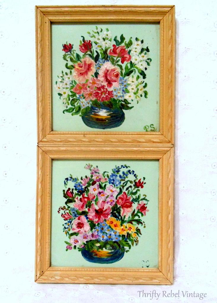 Pair of miniature framed flower oil paintings on glass