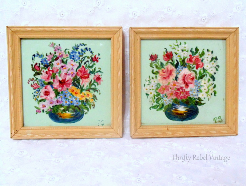 Pair of mini flower paintings on glass