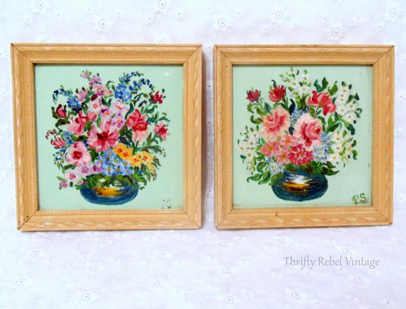 Pair of mini flower paintings on glass