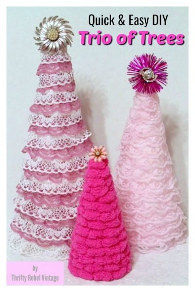 Quick and Easy Trio of Trees including ribbon lace trees and puff ball yarn tree by Thrifty Rebel Vintage