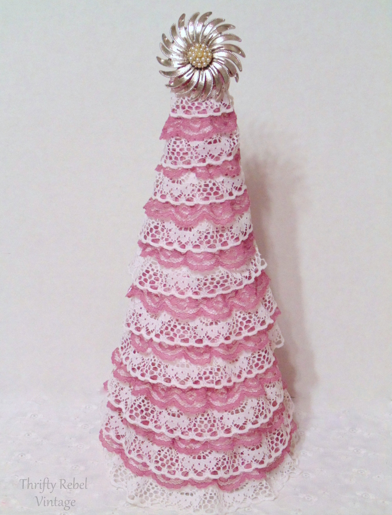 diy pink and white lace ribbon tree with vintage silver tone and faux pearl brooch tree topper