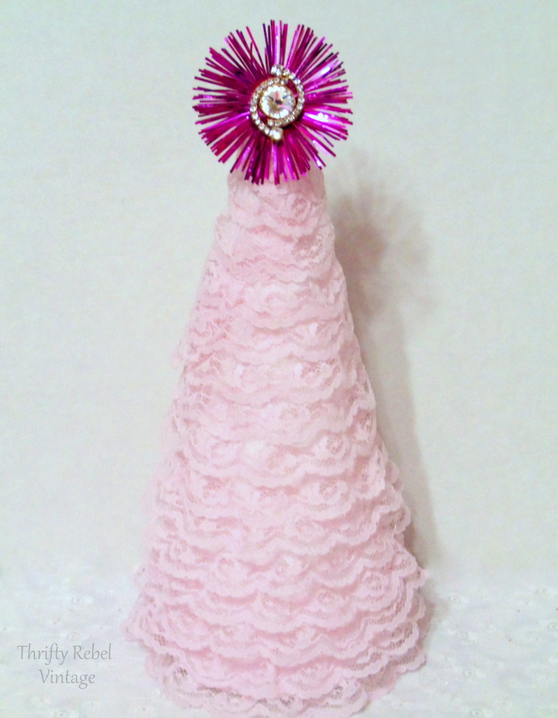diy pink lace ribbon tree with vintage rhinestone stud earring and light reflector tree topper
