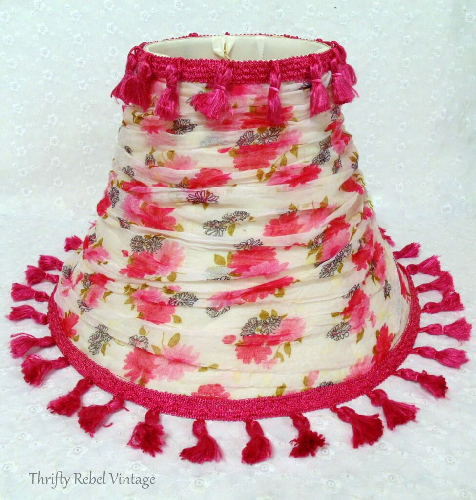 finished floral scarf lampshade makeover with tassel trim