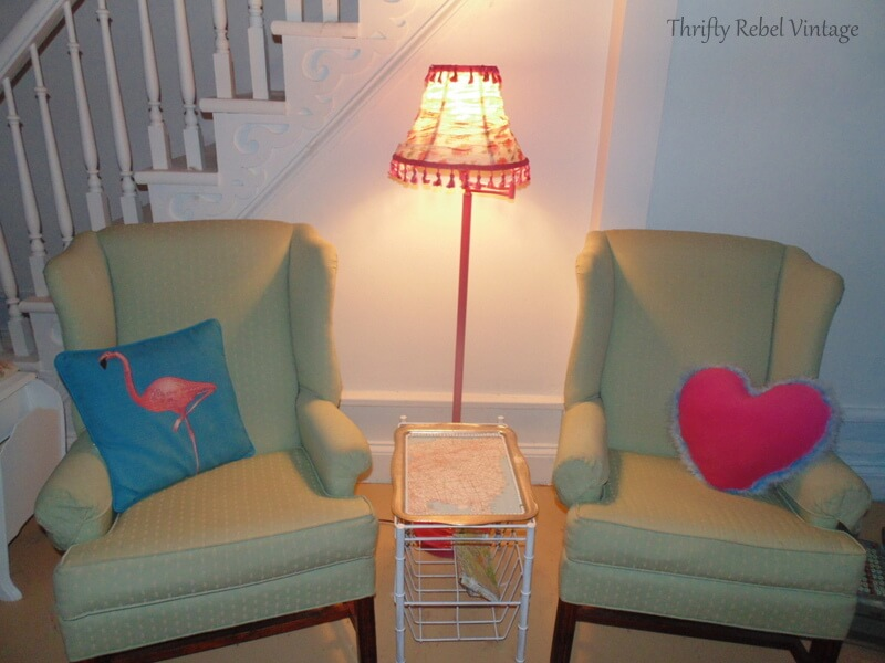 floor lamp and lampshade makeover after with green wing chairs
