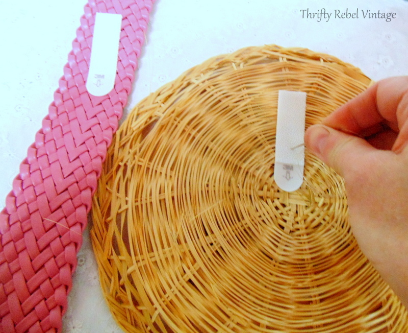 sewing command strip onto back of wicker plate