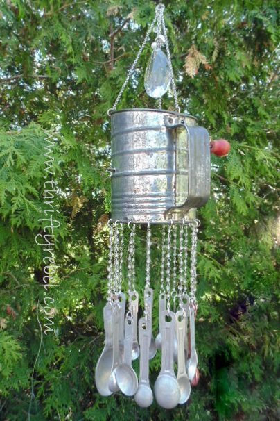 vintage sifter and measuring spoons wind chime