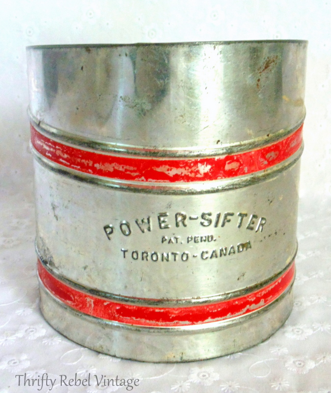 front view of vintage metal power sifter flower sifter Toronto Canada