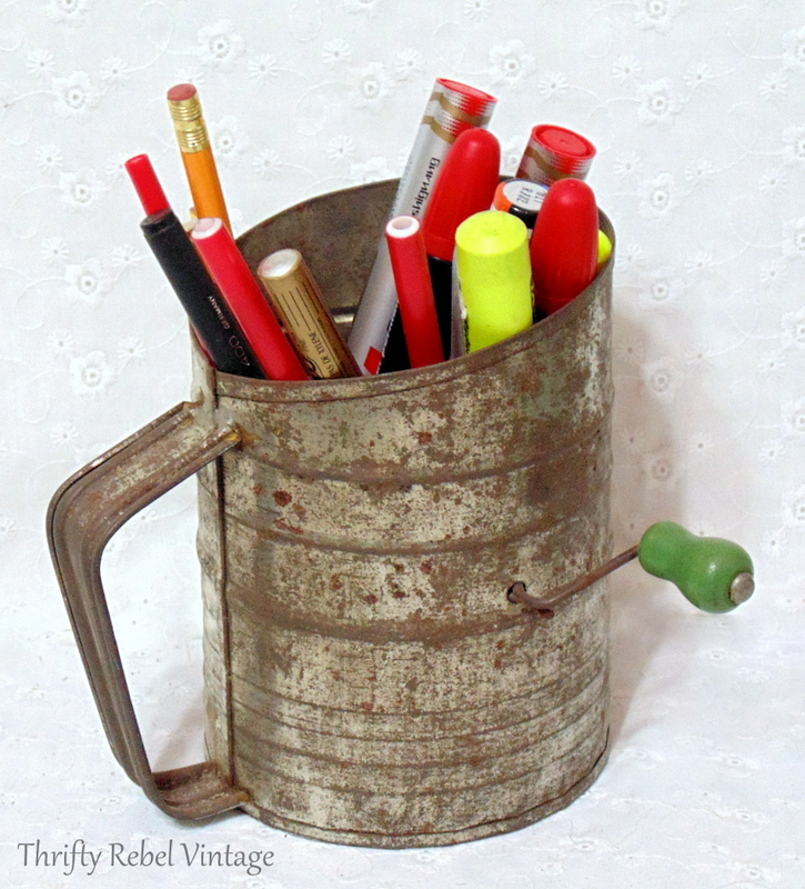 vintage sifter pen pencil and marker craft room storage