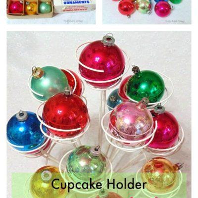 Cupcake holder repurposed for displaying vintage ornaments