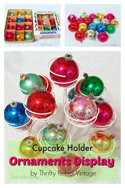Cupcake holder repurposed for displaying vintage ornaments