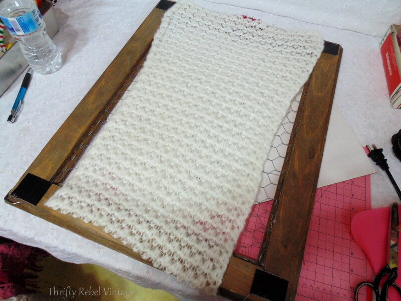 Cut white winter scarf for back of barnboard and chicken wire frame for vintage tree light reflectors wall art