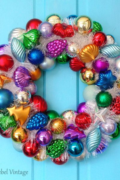 DIY Christmas ornament wreath with sparkly white garland