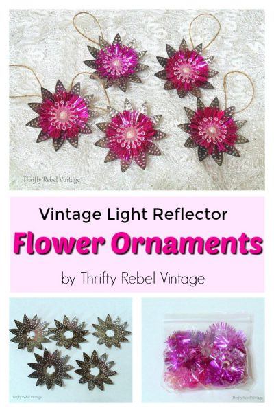 Christmas tree flower Ornaments made from vintage metal and plastic repurposed light reflectors