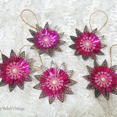 Vintage Light Reflector Flower Ornaments