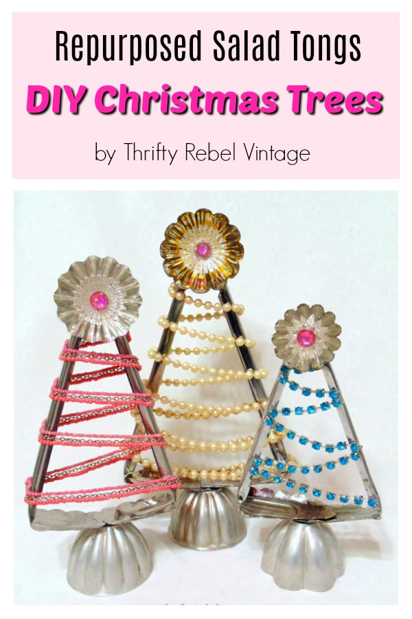 Repurposed Salad Tongs DIY Christmas Trees