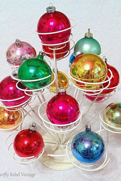 Repurposed cupcake holder used to display of vintage glass ornaments 4