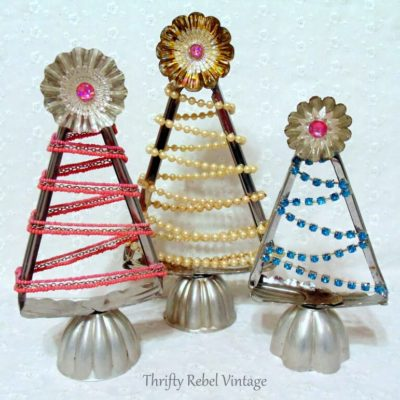 Repurposed salad tongs into diy Christmas trees