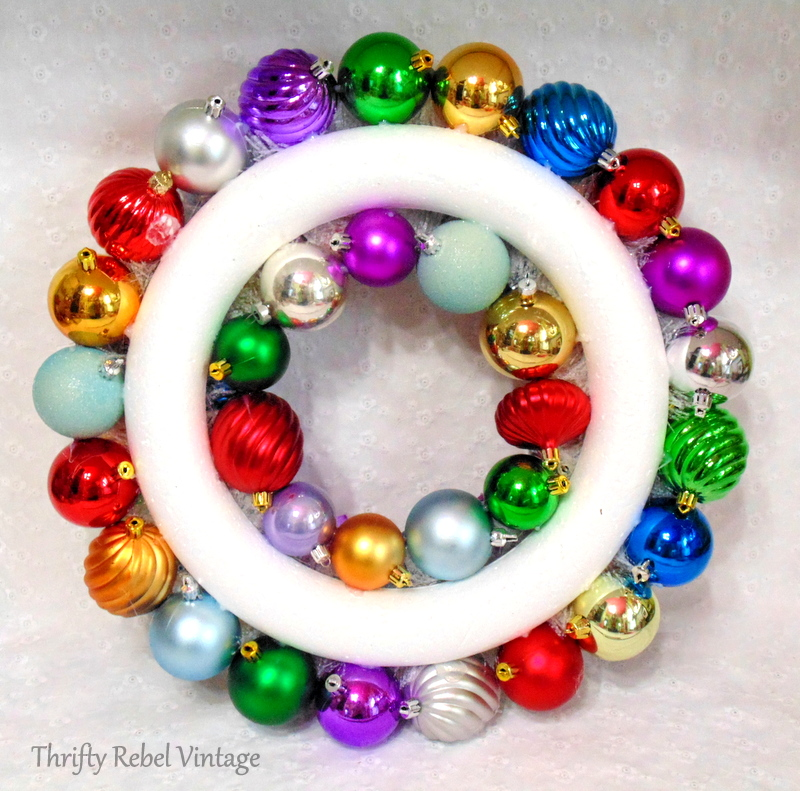 back view of Christmas ornament wreath