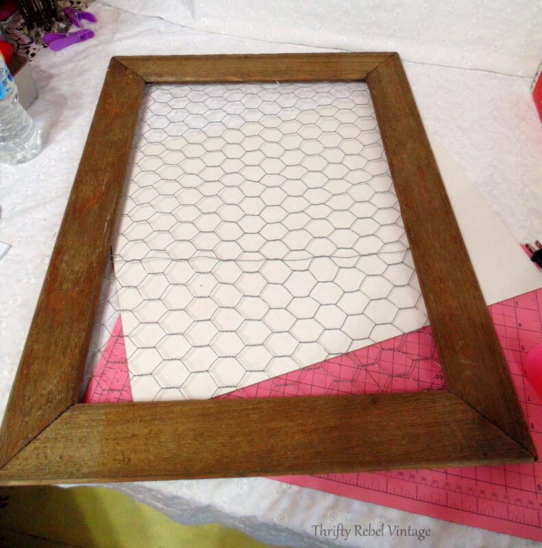 barnboard and chicken wire frame for vintage tree light reflectors wall art